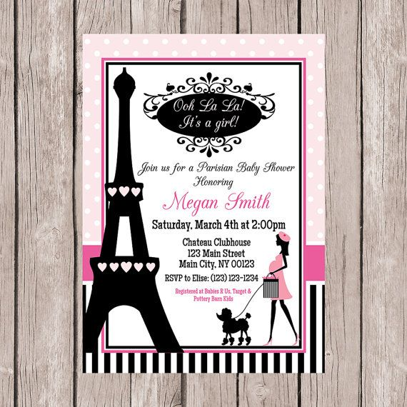 Paris Baby Shower Invitation Paris Themed Baby Shower
