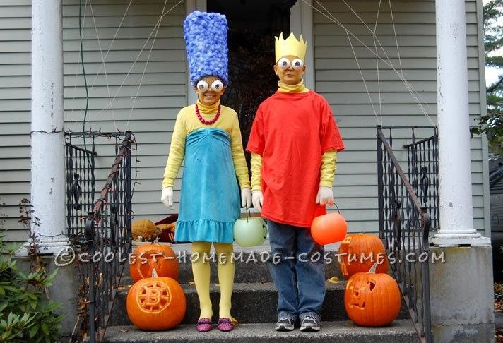Coolest Marge and Bart Simpson Couple Costume... This website is the Pinterest of costumes
