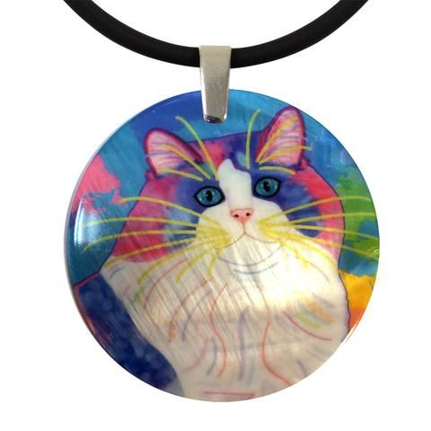 Zapata's World (Blue Version) Round Mother of Pearl Cat Art Pendant Necklace by Claudia Sanchez