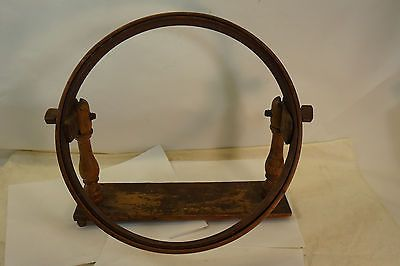 Antique Embroidery Hoop Wooden Stand Frame Sewing Tool