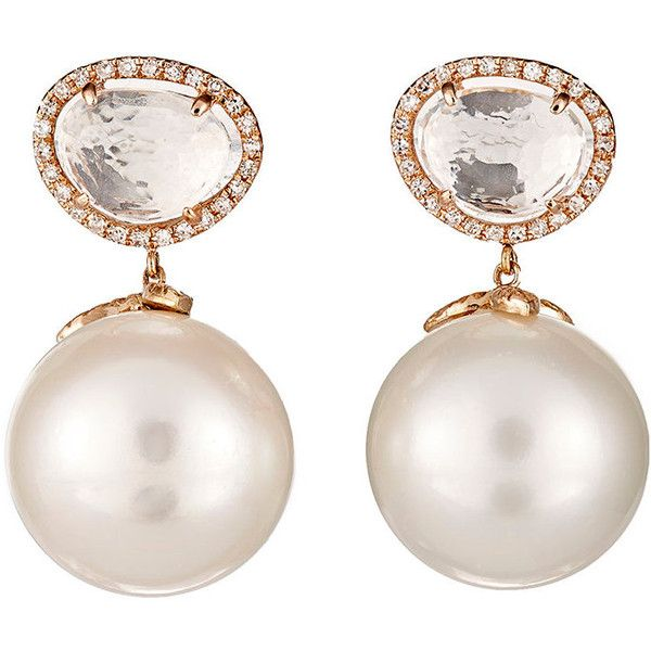 Samira 13 Pearl Drop Earrings (6,900 CAD) ❤ liked on Polyvore featuring jewelry, earrings, accessories, brincos, colorless, anchor jewelry, white pearl drop earrings, 18k earrings, anchor earrings and pearl earrings
