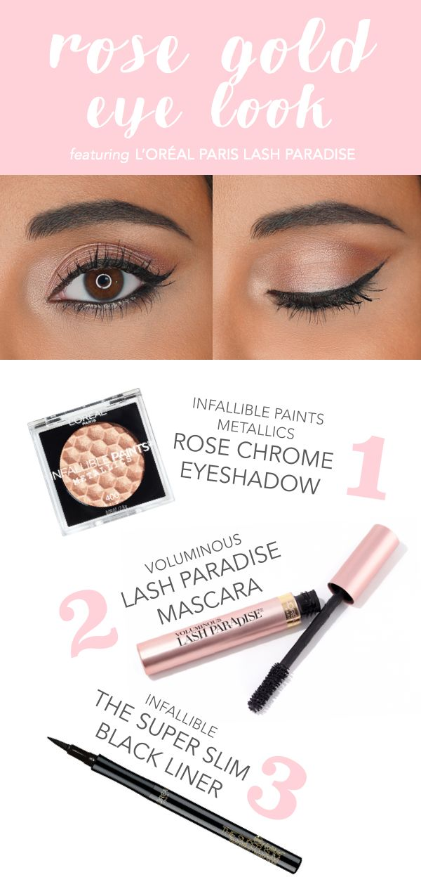 How to get a rose gold eye makeup look featuring new L'Oreal Lash Paradise mascara. 1) apply Infallible Paints Metallic eye shadow in Rose Chrome all over lid & inner corners. 2) apply Lash Paradise mascara to top and bottom lashes. 3) create a wing on top lid with The Super Slim eye liner in black.