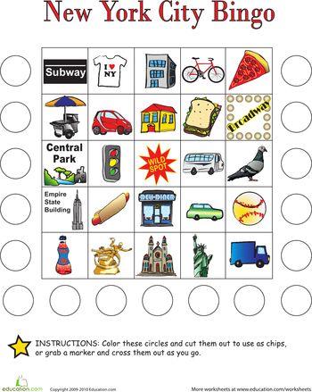 Worksheets: City Bingo: New York City