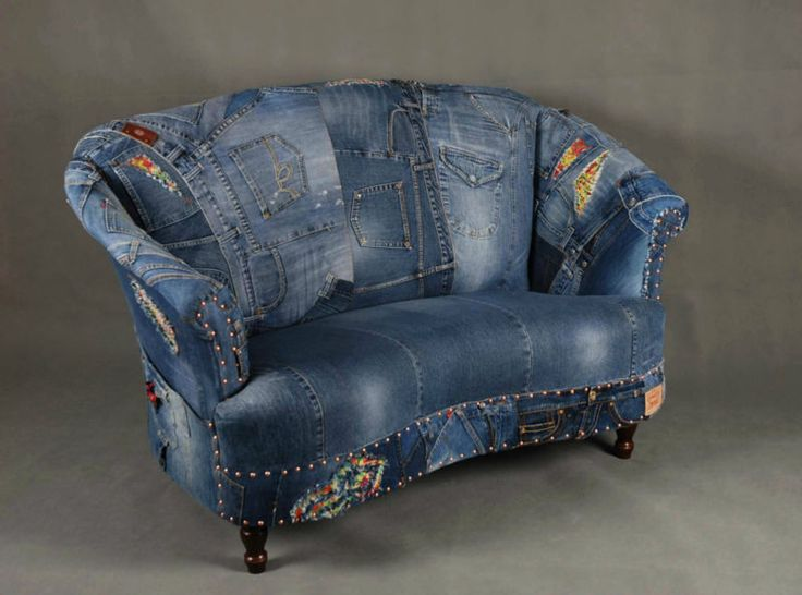 Jeans patchwork denim sofa chair armchair - London. Jacquie, didn't you say you could do me a slip cover? ha-ha