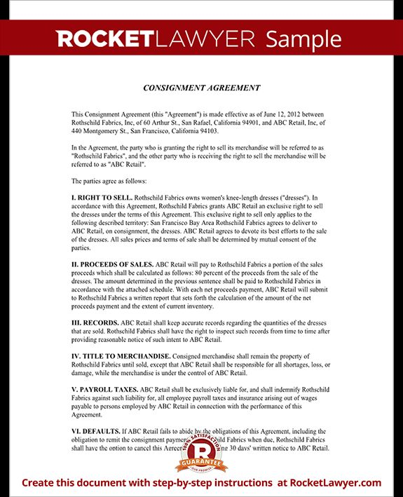 Consignment Agreement Template A Consignment Agreement Is Signed