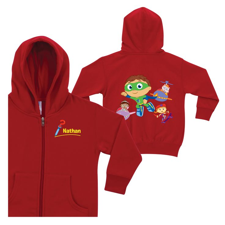 Super Why! Calling All Super Readers! Red Zip-Up Hoodie