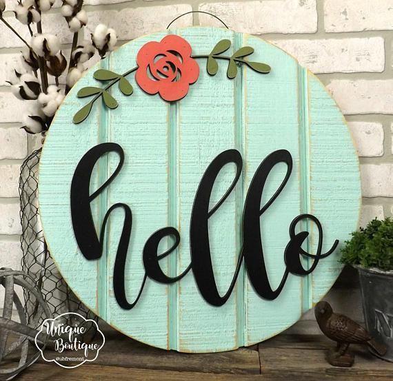 Hello Sign Summer Door Sign Round Circle Door Hanger Flower Door Sign Rustic Wood Shiplap Sign Diyhomedecorflowers