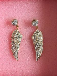 32a865c2c7dc42 BUTLER-amp-WILSON-Gorgeous-Gold-Sparkle-Large-Angel-Wing-Earrings-With-Heart