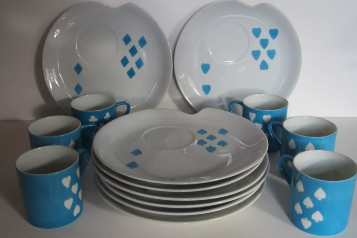 Playing Card Luncheon Plates and Cups Diamonds Spades Clubs Hearts Turquoise White Delicate Retro. $35.00 & 41 best Plates and cups for cafee images on Pinterest | Dinner ...