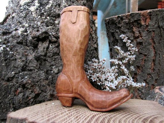 cowboy boots in wood   by Molinart by Molinart on Etsy, $26.00