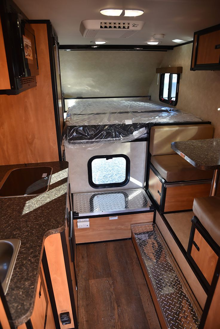 CampLite 8-6 truck camper interior kitchen dinette, http://www.truckcampermagazine.com/newbie-articles/picking-the-perfect-truck-camper/
