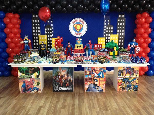 Super-heróis Tema para festa de aniversário infantil