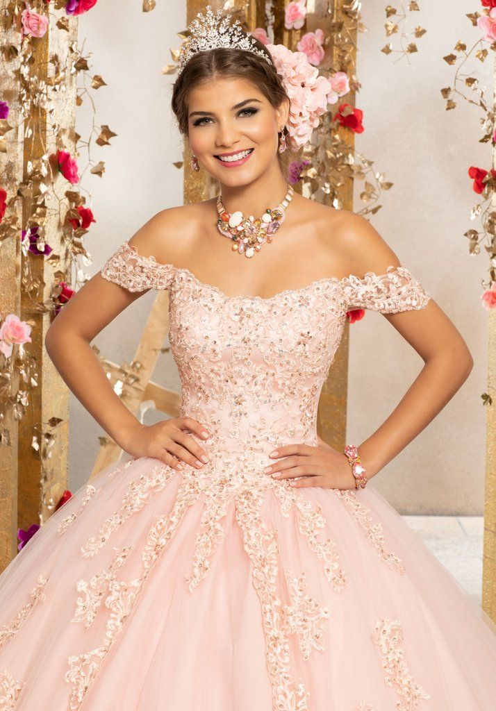 89e2f69619 Floral Off Shoulder Quinceanera Dress By Mori Lee Vizcaya 89231 In