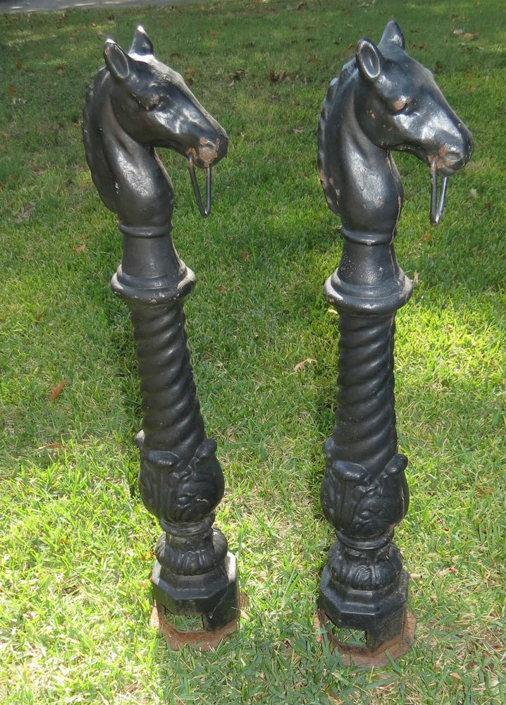 Antique metal cast iron horse head hitching post finial