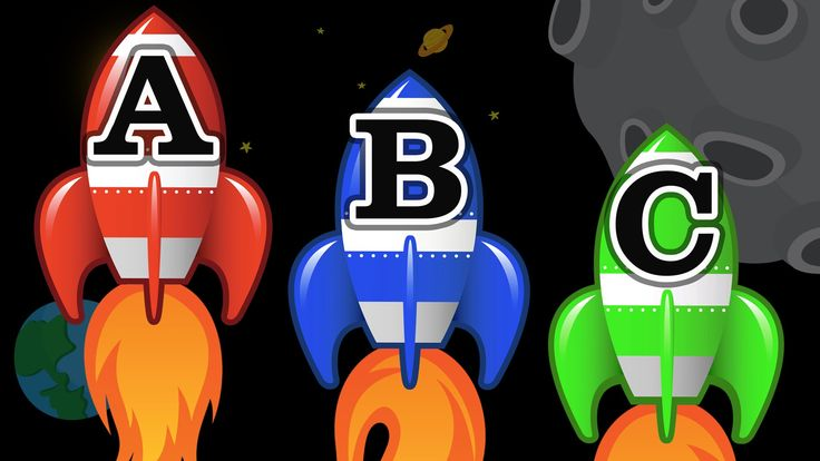Space Rocket Ships Teaching ABCs - Learning the English Alphabet Video f...