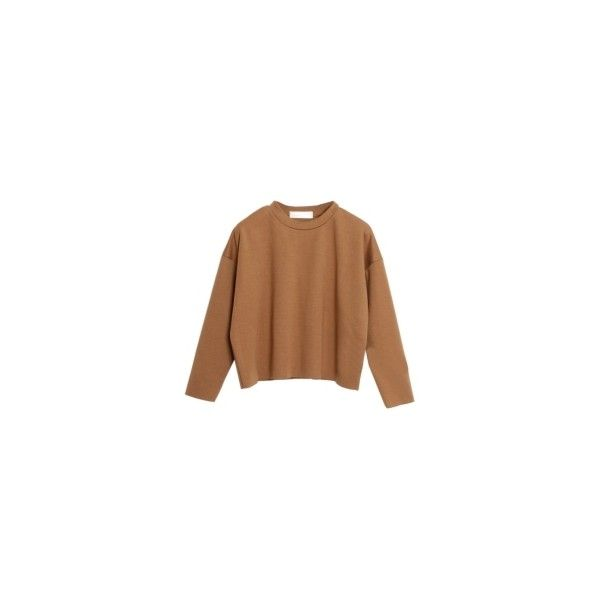 Choies Camel Dropped Shoulder Raw Edge Crop T-shirt ($8.90) ❤ liked on Polyvore featuring tops, t-shirts, camel t shirt, drop shoulder tee, cut-out crop tops, drop shoulder t shirt and cropped tees