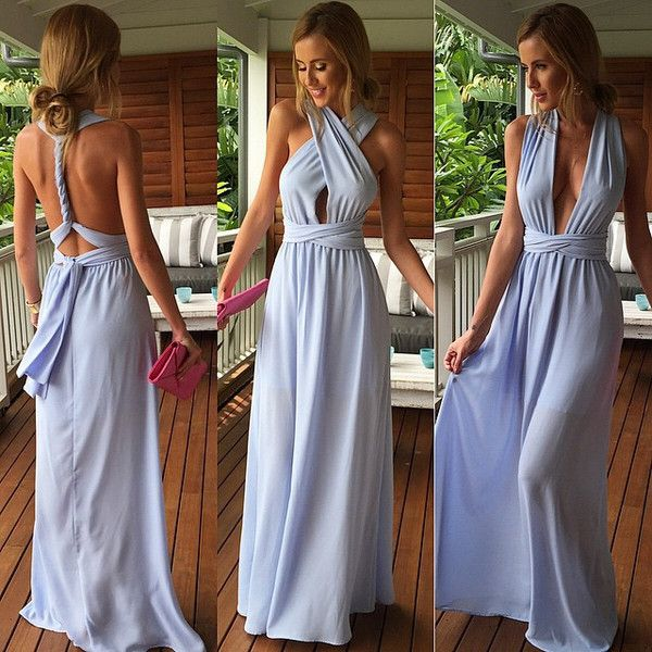 Light Blue Trendy Criss Cross Bodice Maxi Dress Couture