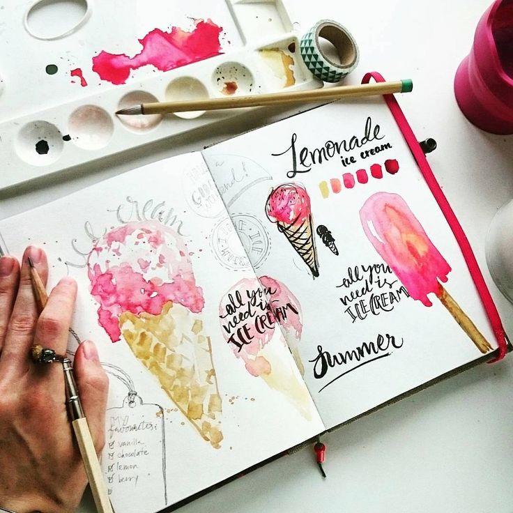 Icecream, watercolor, paper