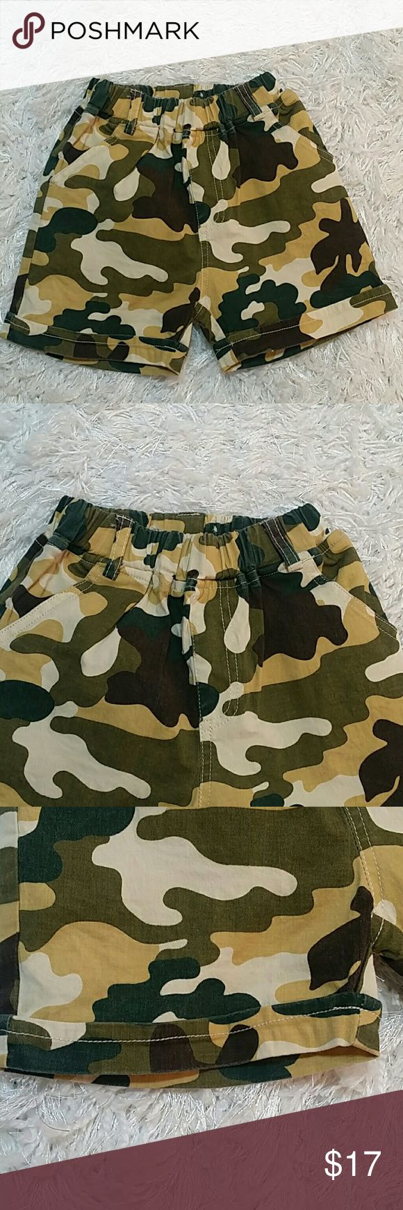 Camouflage Shorts. 3T. Adorable summer shorts in camouflage design.  Have pockets in front and back. Refer to images.  Pull up style  This item is brand new and never used. No tags. Bottoms Shorts