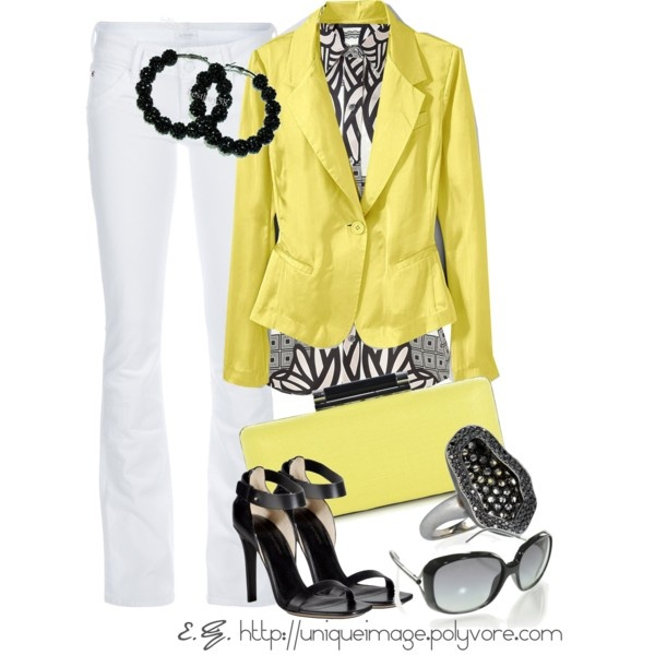 """""""Bright Yellow Blazer"""" by uniqueimage on Polyvore"""