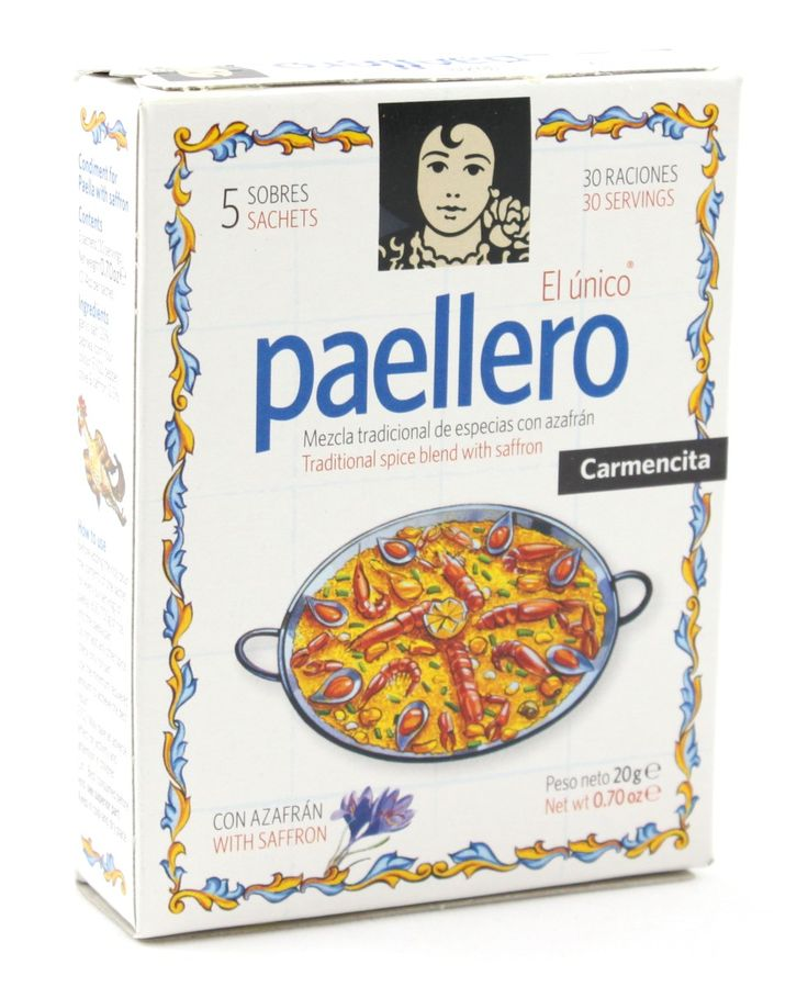 An extremely popular and versatile spice mix containing saffron. Each pack contains 5 sachets of ready to use paella mix, each of which is good for a large paella for 6 people (or any other rice dish). As an added bonus, each sachet has a different recipe printed on it, and there are some extremely interesting ones to try.