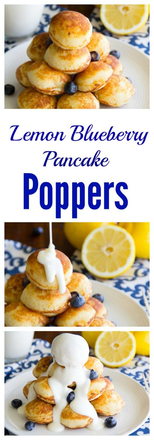 Portable lemon blueberry pancake poppers drenched in a cream cheese icing makes for a yummy weekend breakfast treat!