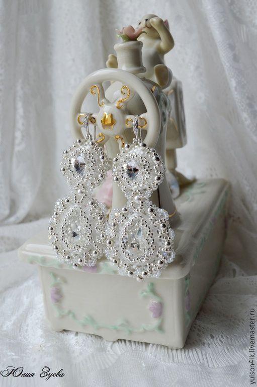 """Купить Свадебные серьги """"Зеркала Принцессы"""". Длинные серьги из бисера. - белый, серебряный, серебристый, жемчужный"""