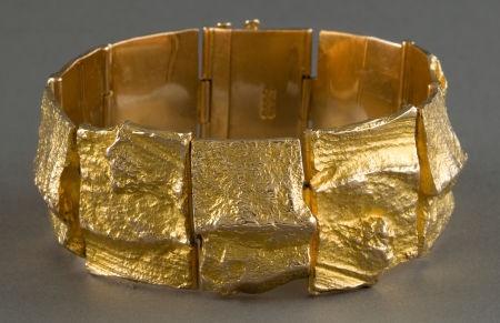 Jewelry:Bracelets, A BJORN WECKSTROM GOLD CUFF .