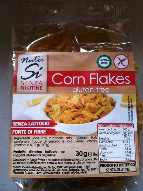 Gluten free corn flakes for breakfast at the hotel Universo!