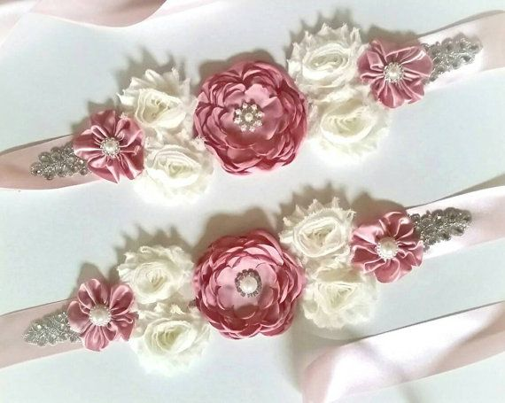 Dusty rose Elegance Maternity Sash/ Pregnancy Photo Prop/ Baby Girl/  Vintage Belly Band/ Baby Shower/ Mommy to Be/ Ivory Sash/ Blush Pink