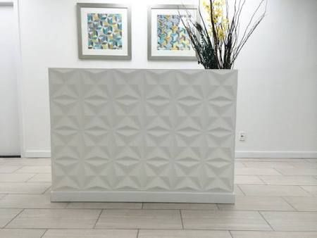 reception desks - I think Lowes has textured tiles like this ...you could DIY this