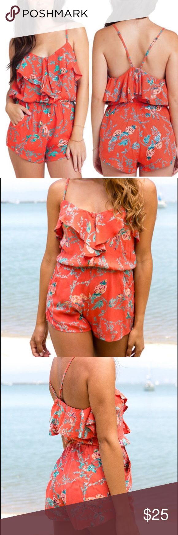Billabong Junior's Coral Dream Escape Romper Billabong Junior's Coral Dream Escape Romper . Beautiful floral pattern. 100% Rayon for extra comfort on your body. Caring instructions: Wash in cold and hang to dry. This is new with tags! Only size large available. Size chart available in last pictures. Billabong Pants Jumpsuits & Rompers