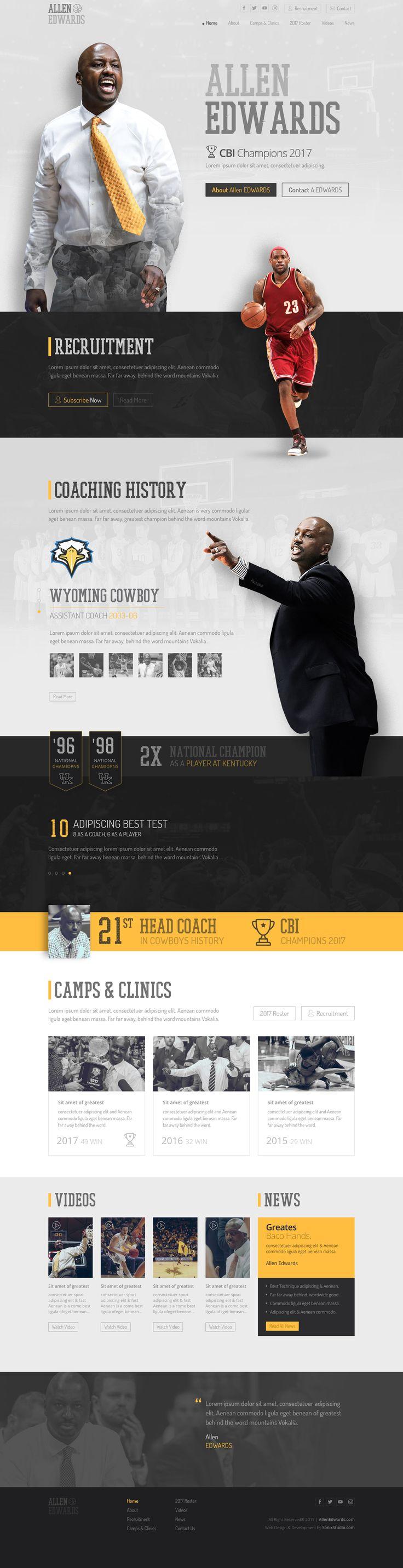 Black, White & Yellow Web design plus the Html for Allen Edwards   - basketball Coach - CBI Champions 2017 with Wyoming Cowboys team. #parallaxWebDesign, #parallax, #sportwebdesign, #sport,  #CBIChampionsCoach,  #basketballwebsite, #basketballWebDesign, #basketball, #basketballcoach, #CoachAllenEdwards, #webdesign, #websitedesign, #webDesigner, #CBIChompions, #sportwebsite, #psdtohtml, #frontenddeveloper, #webdeveloper