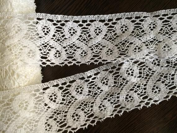 **** WHITE LACE EMBELISHED WITH GOLD 50mm Wide ****