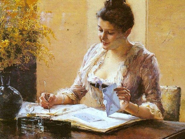 quadro donna scrive lettera