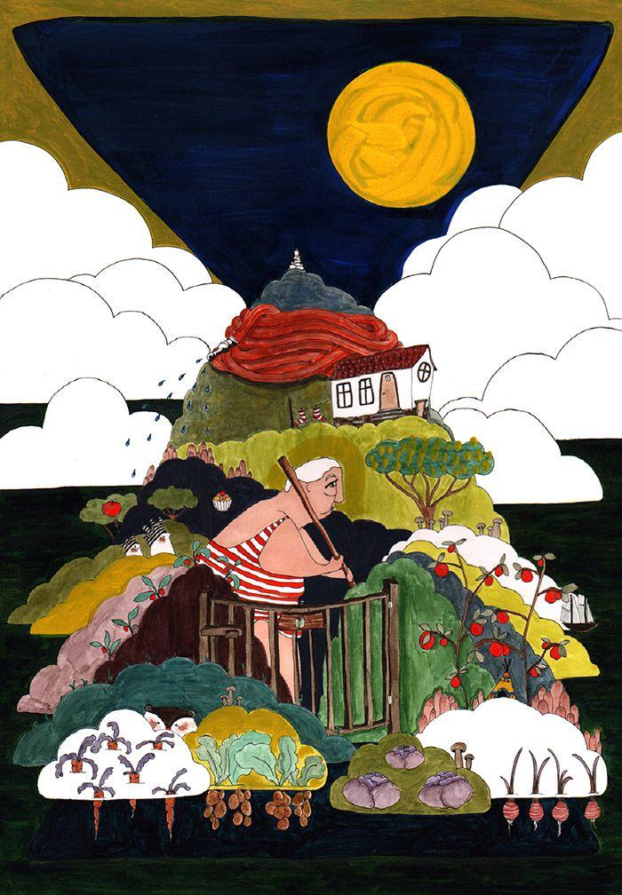 Grandma's veggie garden illustration from http://signegabriel.com