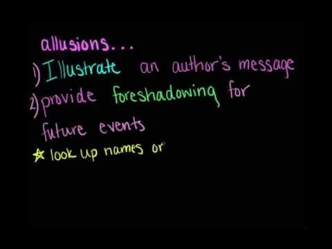 This video explains really well, not exactly what allusions are, but how they can be useful in literature. Allusions can be used to help us connect ideas from different texts to allow us to gain a better understanding.