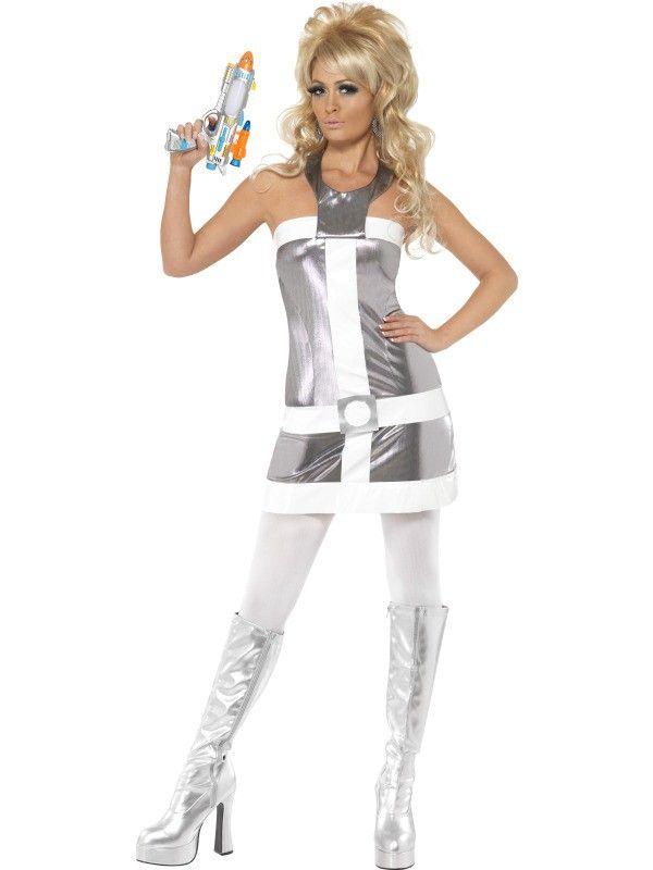 space costumes women | 60s Barbarella Style Costume - Silver & white mini dress has a sci-fi ...