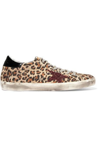 Golden Goose Deluxe Brand - Super Star Patent, Glittered And Leopard-print Leather Sneakers - Leopard print
