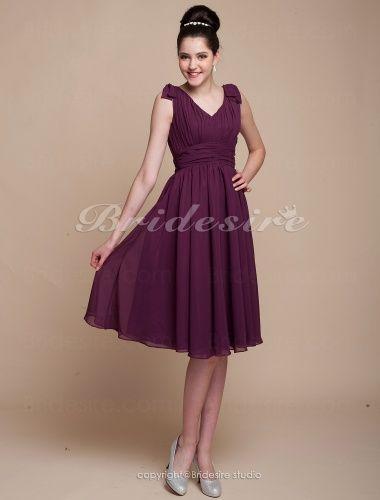 A-line Princess Knee-length Chiffon V-neck Bridesmaid Dress - $75.99