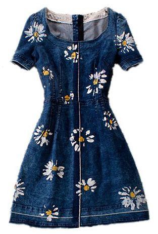 Blue Round Neck Short Sleeve Floral Denim Dress - Sheinside.com
