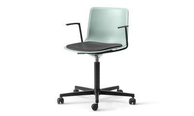 Pato Office Armchair avec assise tapissée, coque coloris Ocean. Design scandinave FREDERICIA