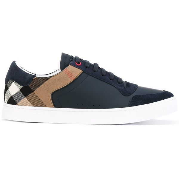 Burberry checked panelled sneakers (445 CAD) ❤ liked on Polyvore featuring men's fashion, men's shoes, men's sneakers, blue, burberry mens sneakers, mens blue leather shoes, mens leather sneakers, mens blue sneakers and mens leather shoes