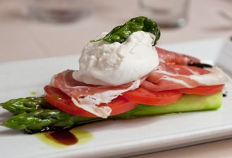... asparagus, tomatoes, basil and add delicious prosciutto and creamy buratta cheese ... dress with a vinaigrette