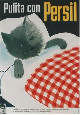 Original-vintage-poster-PERSIL-LAUNDRY-HAPPY-CAT-1954