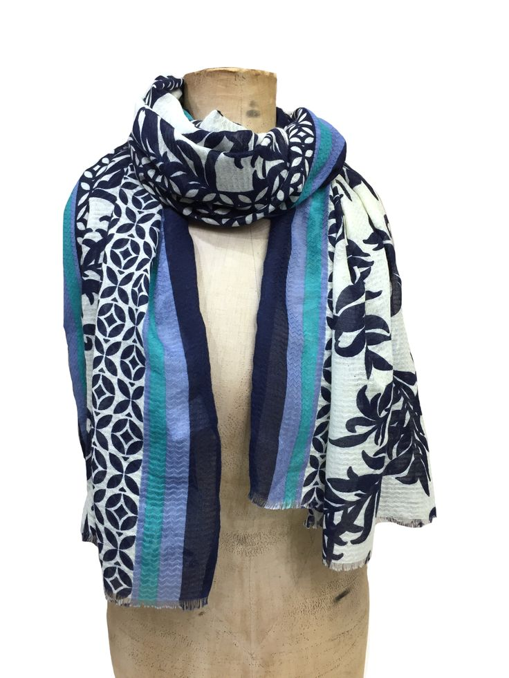 Hem&Edge foliage scarf with mosaic border & block edge #navy #ivory 100% polyester 90x180cm #beautifulblues #scarf #accessories #onebutton #hemandedge Click here to see more products from the One Button shop.
