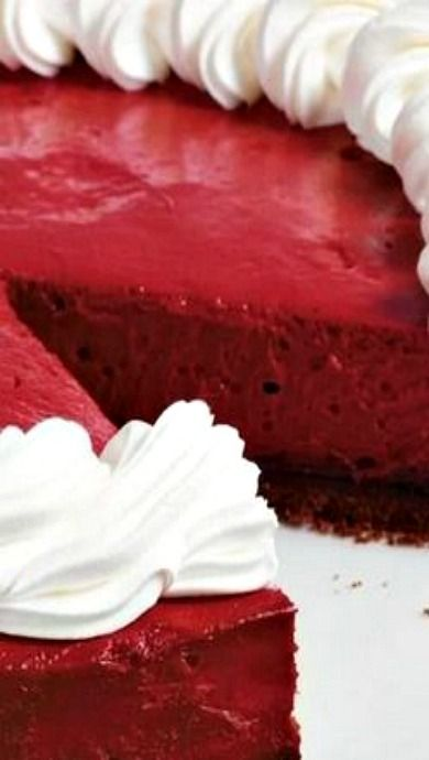 Red Velvet Cheesecake Recipe. Beautiful for Valentines Day
