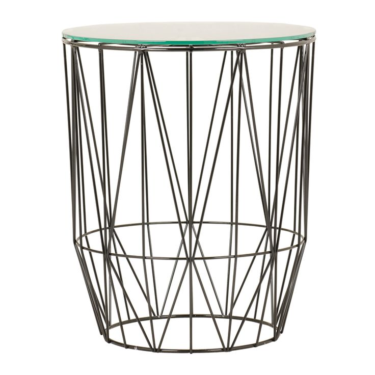 wire side table small black glass top @home 332401CO2 R