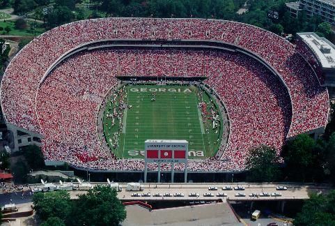 aerial shot of beautiful Sanford Stadium