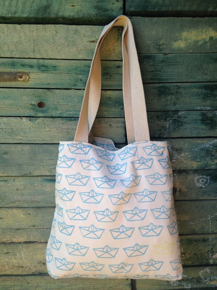 Hepphabit block printed canvas tote bag - boat